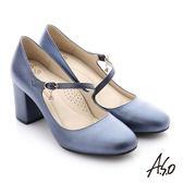 A.S.O 個性美型 水鑽環扣真皮質感高跟鞋-藍