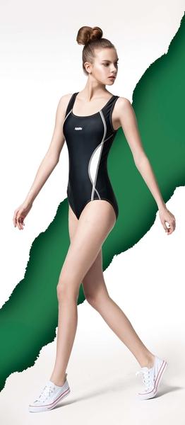 【限時出清 】APPLE蘋果牌泳裝↘成本出清~大女繡Apple米白邊運動型連身三角泳衣 附泳帽 NO.15441