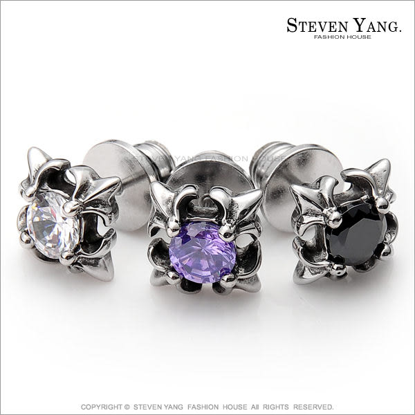 耳環STEVEN YANG西德鋼飾「孤傲王者」栓扣式 兩面皆可戴 三色任選*單邊單個價格*