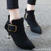 鞋子女女鞋韓版秋冬女靴子尖頭黑色細跟高跟鞋短靴及踝靴 艾美時尚衣櫥