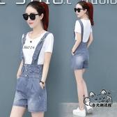 吊帶褲 單件套裝牛仔短褲女高腰背帶褲2020夏季新款兩件套韓版寬鬆連體褲 VK1447