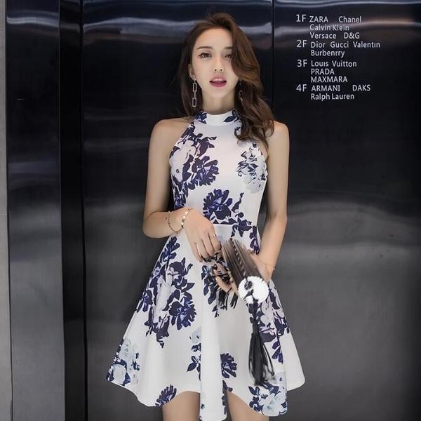 洋裝 無袖中國風印花繞頸小禮服 派對夜店 韓版 連身裙 花漾小姐【現貨】