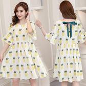 時尚菠蘿印花雪紡裙子孕婦夏季寬鬆中長款洋裝LJ8505『黑色妹妹』