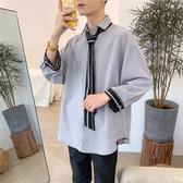 襯衫男 秋季小清新ins領帶襯衫男裝很仙的洋氣長袖襯衣正韓潮流寬鬆外套