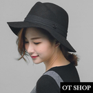 OT SHOP帽子‧金屬雙M素色緞帶純羊毛呢氈‧毛呢帽紳士帽禮帽爵士帽‧韓版優雅英倫風‧現貨NC1701