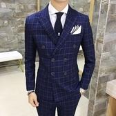西裝套裝含西裝外套+西裝褲(三件套)-時尚流行格子造型新郎男西服2色73hc31【時尚巴黎】