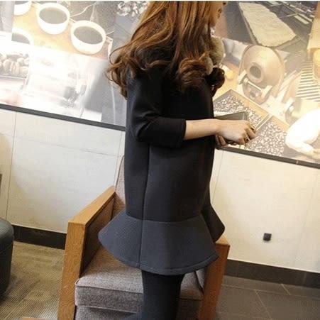 *魔法之城*ET9361甜美優雅百搭韓版秋冬荷葉邊中長款魚尾洋裝裙