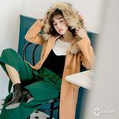 CANTWO毛毛連帽金屬飾環排釦大衣-共兩色