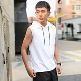 無袖T恤男連帽潮牌夏季運動健身上衣帶帽薄港風背心學生短袖衛衣-Ifashion