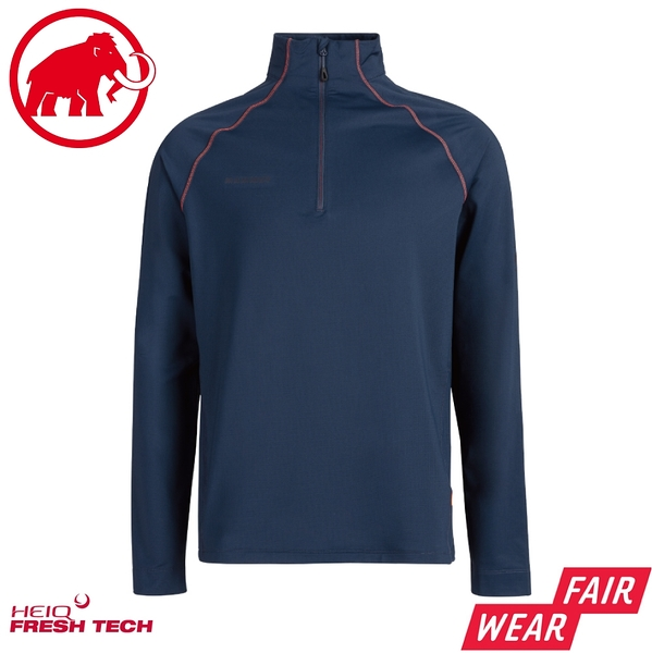 【MAMMUT 長毛象 男 Snow ML Half Zip Pull長袖立領排汗衣《海洋藍》】1014-02400