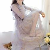 2019春夏季新款甜美淑女學生氣質星空刺繡網紗吊帶連身裙套裝仙女