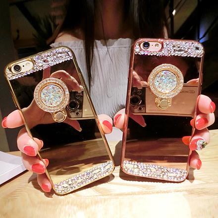 [現貨] 蘋果iPhone 6 7 PLUS全系列 名媛風貼鑽質感鏡面指環支架手機殼【QZZZ6103】