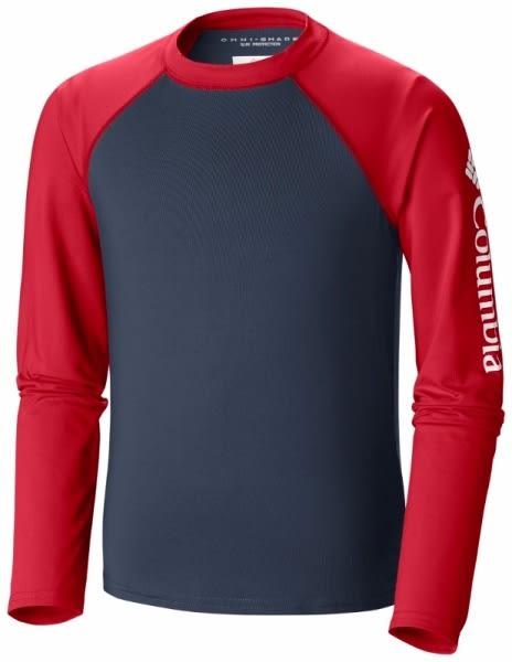 【Columbia】兒童防曬50快排長袖上衣 - 紅色AY14390(RD)