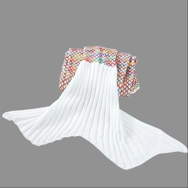 爆款新品仿羊絨美人魚毯子毛線針織人魚尾巴毛毯冬季沙發毯 qf32345【夢幻家居】