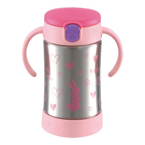 日本 Richell TLI水杯 - 薇拉兔不鏽鋼吸管保溫杯300ml【佳兒園婦幼館】