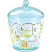 〔小禮堂〕角落生物圓形壓克力拿蓋收納罐《透明藍裁縫》置物罐棉花罐收納盒4548626 09502