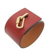 HERMES 愛馬仕 紅色牛皮寬版淺金釦手環 Bracelet X刻 S 【BRAND OFF】