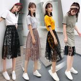 2018夏季正韓收腰顯瘦短袖學生兩件套洋裝女中長款蕾絲半身裙子 萬聖節