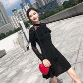 洋裝 韓版 圓領蕾絲拼接收腰連身裙 婚禮小禮服 花漾小姐【預購】