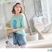 《AB6122-》高含棉椰子樹英文燙印上衣T恤 OB嚴選