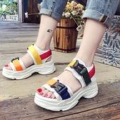 增高厚底運動風涼鞋女2021夏季韓版拼色學生一字露趾休閒外穿涼鞋【快速出貨】