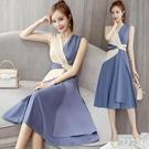 無袖連身裙收腰顯瘦氣質洋裝2020新款春夏天裝雪紡長裙子超仙女法式 LR19831『麗人雅苑』
