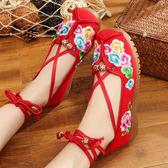 春季新款老北京布鞋 女平底系帶繡花鞋 民族風中國風漢服鞋 復古