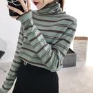 秋冬新款條紋針織衫堆堆半高領內搭修身顯瘦毛衣女上衣打底衫女士 【雙十二狂歡購】
