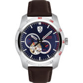 Scuderia Ferrari 法拉利 PRIMATO 鏤空機械錶-藍x咖啡/44mm FA0830443