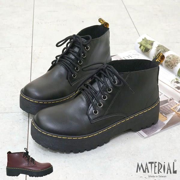 短靴 綁帶短筒厚底短靴 T9213