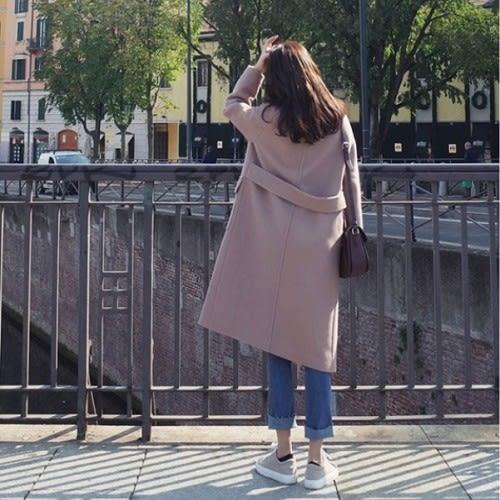 免運★梨卡 - 韓國空運【韓國製】甜美加厚仿羊毛中長版繫帶雙排扣毛呢大衣風衣西裝外套A417