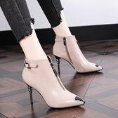 2019秋冬新款韓版高跟馬丁靴女短靴細跟瘦瘦女鞋尖頭性感加絨女靴  喵小姐