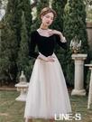 復古法式秋新款復古法式少女溫柔網紗洋裝氣質小黑裙蓬蓬裙禮服