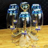 杯架創意不銹鋼6頭旋轉水杯架酒杯架時尚茶杯架 歐式倒掛瀝水玻璃杯子 數碼人生