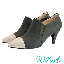 WINEAN薇妮安-異素材拼接中跟鞋(墨綠)-WNA16300