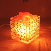 簡約現代小臺燈創意時尚主臥室床頭燈調光小夜燈水晶鹽燈 萬客居