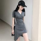 短袖洋裝 夏季新款修身顯瘦不規則包臀裙子氣質純色V領短袖連衣裙女裝 莎瓦迪卡