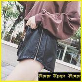 皮褲短褲 高腰顯瘦黑色冬款外穿PU皮短褲