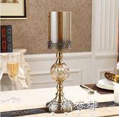 奢華美式餐桌樣板房軟裝飾品擺件歐式燭光晚餐道具水晶金屬蠟燭台igo  蓓娜衣都