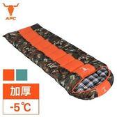 【APC】迷彩秋冬加寬加厚可拼接全開式睡袋-桔色