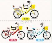 自行車 22寸母子自行車帶小孩 男女式親子安全接送寶寶單車 俏女孩