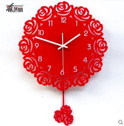 雅刻麗掛鐘客廳現代簡約石英鐘創意時尚靜音時鐘紅玫瑰花藝術鐘錶