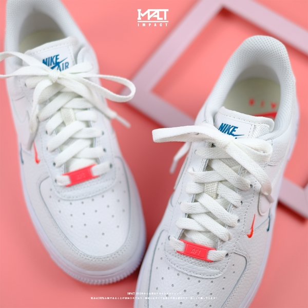 IMPACT Nike W Air Force 1 07 Ess 紅藍 全白 雙勾 小勾 刺繡 CT1989-101