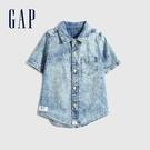 Gap男幼童 復古紮染牛仔短袖襯衫 679238-水洗藍