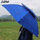 luwint 雙層防風釣魚傘帽 頭戴雨傘防風防雨遮陽 折疊 晴雨傘帽   酷男精品館