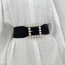 腰鏈 腰封 小眾單品方形珍珠扣外搭襯衫連身裙 束腰裝飾時尚百搭配裙腰帶  店慶降價