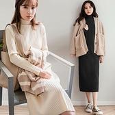 MIUSTAR 簡約無印風!立領坑條針織洋裝(共3色)【NH2851】預購