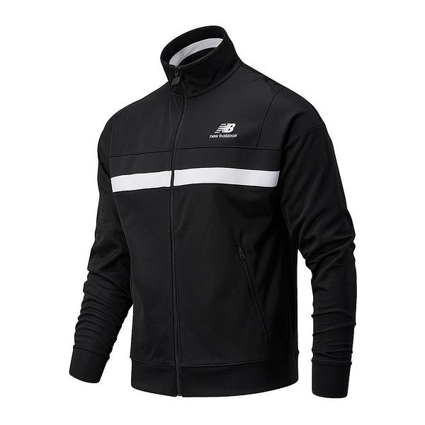 NEW BALANCE 男款 立領外套 休閒外套 運動外套 穿搭 透氣 黑 AMJ03501BK