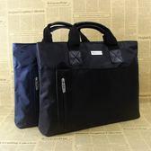 商務包 男公文包商務手提包大容量牛津帆布橫款電腦包多層定制印字