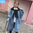 【V2551】shiny藍格子-閒適秋柔.披肩帽子造型長版牛仔外套